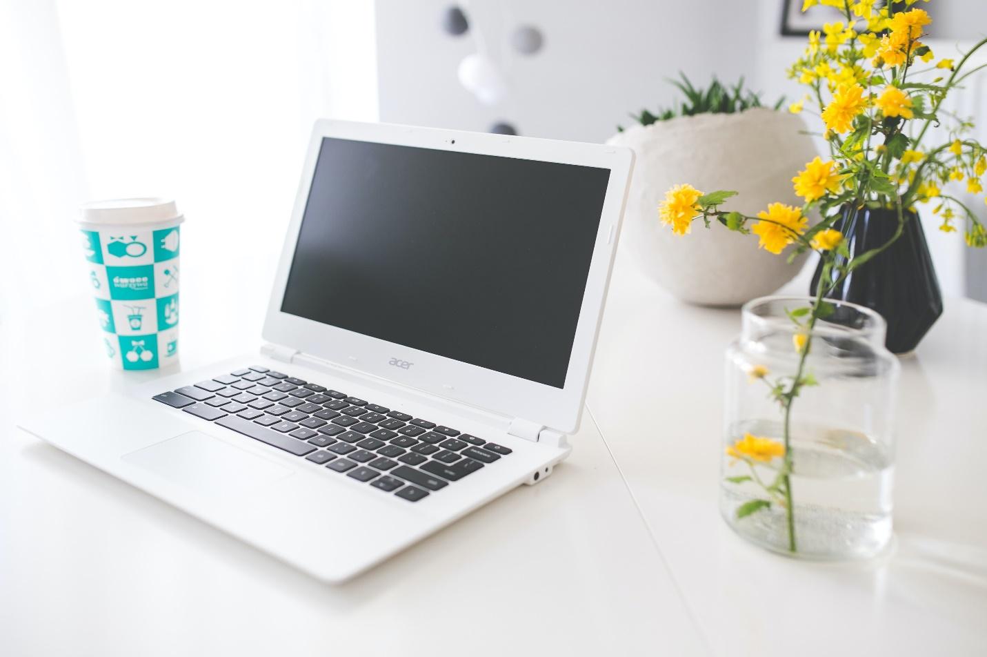 Acer Chromebook on a white desk